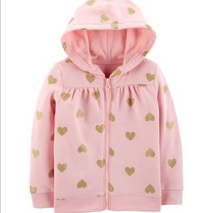 Heart Zip-Up Fleece Hoodie